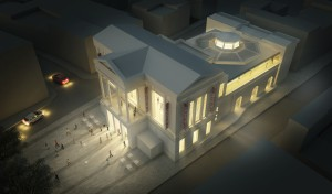 The architect John McAslan + Partners image of the Town Hall at Night